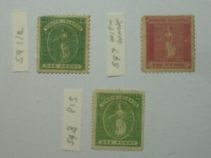 VIRGIN ISLANDS 1866  ISSUES SG1or2  & SG7 WMK +SG8 MNG SMALL FAULTS CAT £220
