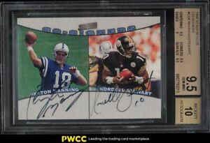 1998 Stadium Club Co-Signers Peyton Manning Stewart ROOKIE RC AUTO #CO6 BGS 9.5