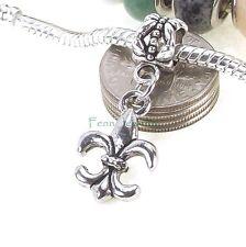 Fleur De Lis Dangle Silver Tone Large Hole Bead for European Charm Bracelet