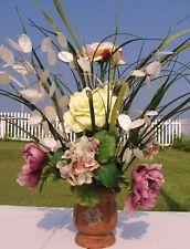 Money Tree Rose Cemetery Grave Urn Crock Arrangement Mauve Cream Green Roses