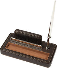 London Designs 48037 Brown Faux Leather Card & Pen Holder HALF PRICE OFFER