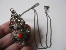 Vtg .925 Sterling Silver Chain Necklace Filigree Pendant Coral Stone Inlay Large