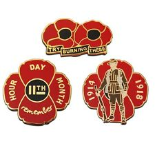 Set of Three Remembrance Red Poppy Badges Lone Soldier Collection Flower Pins
