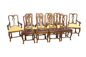 Rare* Bespoke 14 chair set leather / Suede Queen Anne style Dining Chairs