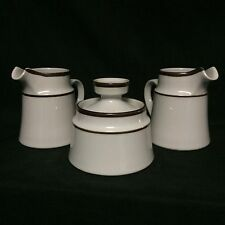 (2) Noritake Primastone Creamers and (1) Lidded Sugar Bowl Brown Stripe