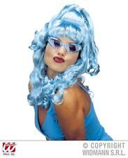Ladies Long Neon Blue Curly Wig Nu Rave Funky Disco Fancy Dress