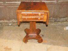 american empire flame mahogany sewing work table 2 drawer drop leaf