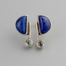 Vintage Lapis + Aquamarine 80's Does Art Deco Sterling Silver Earrings