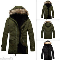 Men Army Down Cotton Jacket Fur Collar Thick Winter Hooded Coat Outwear Parka