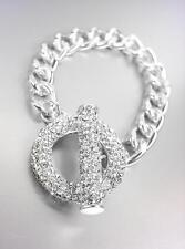 GORGEOUS GLITZY Bebe Lovely Silver Pave CZ Crystals Ring & Toggle Chain Bracelet