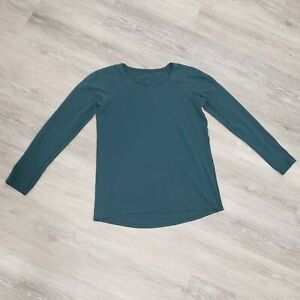 LULULEMON Size 6 Teal Green Run Athletic Long Sleeve Breathable Lightweight Top