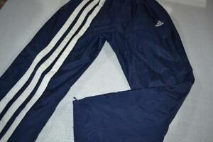 20083-a Mens Vintage Adidas Gym Track Pants Polyester Size Large Blue