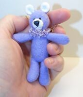 "Miniature Artist made Lavender Floppy Teddy Bear 3 1/2"" OOAK by Beth Diane Hogan"