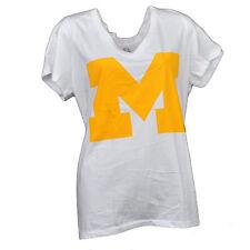 NCAA Michigan Wolverines V Neck Tshirt Tee White Womens Short Sleeve Big Logo