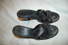 Tod's Black Leather Heels Slids Sandals Shoes Size 9 1/2