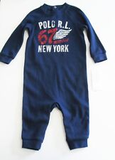 Ralph Lauren Baby Boys Waffle Knit Coverall Holiday Navy Sz 3M - NWT