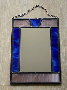 Vintage French Mirror Small Hall Cloakroom Bathroom Stained Glass Effect