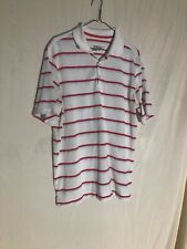 Nike Golf Mens Polo Shirt White Red Dri Fit Tour Performance Size Large