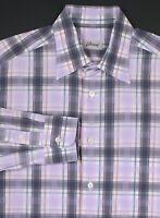 BRIONI Current Model Gray/Light Purple Cotton Dress-Casual Shirt~ Large