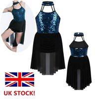 UK Girls Contemporary Dance Dress Lyrical Ballet Latin Leotard Dancewear Costume