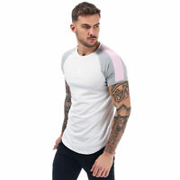 Mens Gym King Retro Tape T-Shirt In Grey Pink