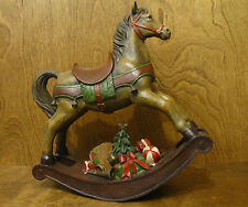 Wood Look Christmas Rockingfrom Horse Transpac #X4321, NEW From Retail Store