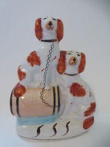 Staffordshire Flat Back Porcelain Red & White Spaniel Dogs on a Barrel Figurine