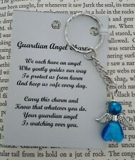 HANDCRAFTED GUARDIAN ANGEL CHARMS KEYRING BAGCHARM TEACHER GIFT LIGHT BLUE