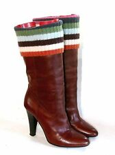 Coach Italy Monika Brown Leather Knit Wool Calf Mid Heel Boots Size 6B