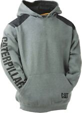 CAT Logo Panel Hooded Sweat Shirt - Mens Heather Grey 2xl