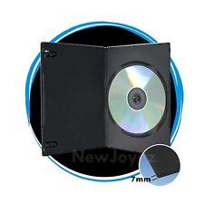 50 Black 7mm Slim Single CD DVD Movie Case Storage Box One Disk Holder