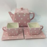Vintage Pink Polka Dot Tea Set Teapot 2 Cups 2 Saucers