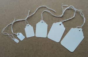 New White Strung Swing Tie Tickets Price Label Tags