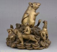 "6.8 ""vieux brass folk feng shui 12 zodiac animal mouse tiger richesse statue"
