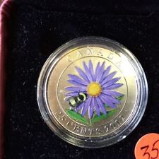 2012 Canadian 25 Cent Coloured Coin - Aster with Bumble Bee