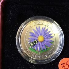 2012 Canada 25 Cent Coloured Coin - Aster with Bumble bee RCM Product