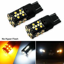 No Hyper Flash 7443 LED Canbus 21W W21/5W T20 Switchback White/Amber LED Bulbs