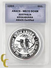 1994 Australia Kookaburra (ANACS MS70 DCAM) 1oz .999 Silver Perfect KM#212.1