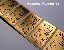 Lot 100 Etiquettes Stickers neuf bijoux cadeaux JOYEUX NOEL noir or doré étoiles