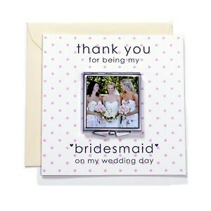 Bridesmaid or Maid of honour Wedding Thank You personalised gift Compact mirror