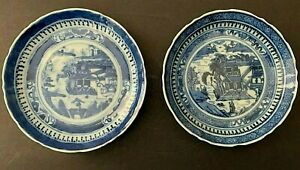 2 Antique Chinese Export Nanking Canton Blue and White Porcelain Small Plates