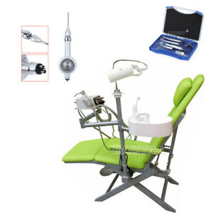Dental Portable Folding Chair+High&Low Speed Handpiece Kit+4 holes Air Polisher