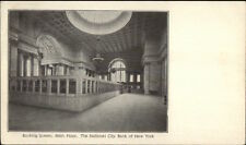 National City Bank of New York - Banking Screen Main Floor c1910 Postcard