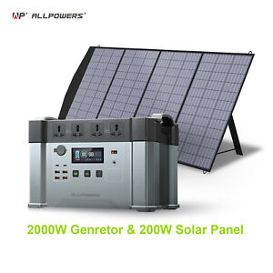 2000W Portable Solar Power Station Generator with 200W Solar Panel for Camp RV