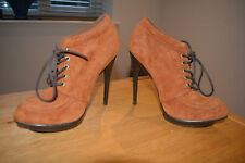 ASOS Tan Suede Platform Lace Up Ankle Boots Size UK 4 Worn Twice