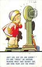 Early D TEMPEST Lady on Weighing Machine   Bamforth Tempest Kiddy  Postcard