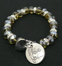 Sparkly Crystal Stretch Bracelet I Love You & Heart Charm Smoke NEW Ship from US