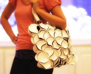 LADIES HAND BAG TOTE FLOWER - HANDMADE SHOULDER FASHION PU LEATHER BAG - WHITE