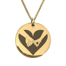 Couple Hand Holding Heart Laser Engraved Gold Plated Necklace Gift for wife - sw
