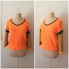 Vintage 80s Orange Green Striped Large Sleeve Crop Sweater Festival Raver XSmall
